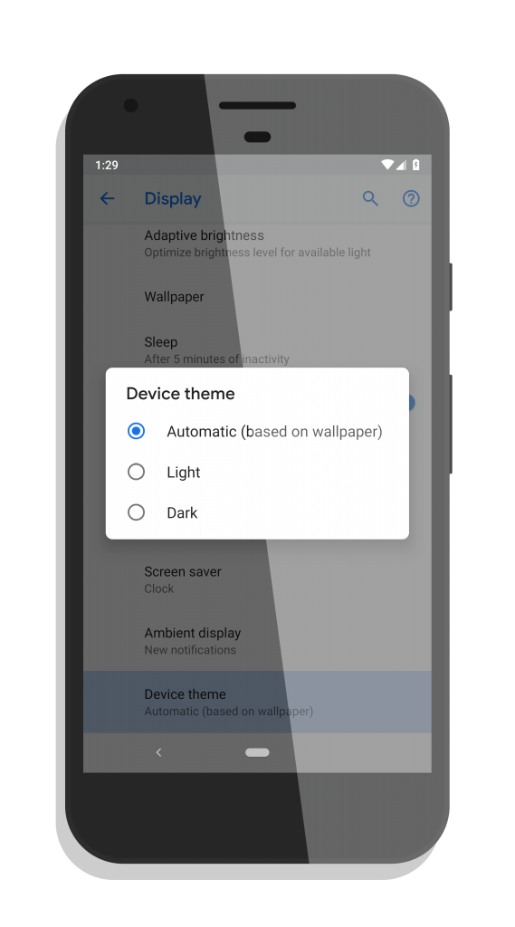Android P Developer Preview 4 Theme Selector
