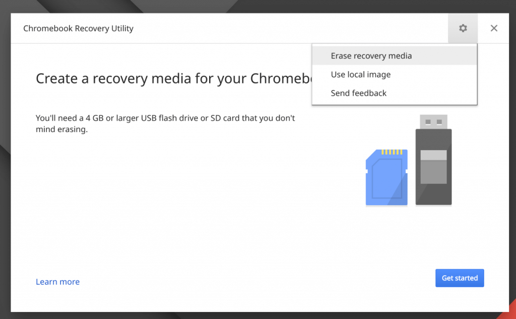 Chrome OS Recovery to Format a USB Drive