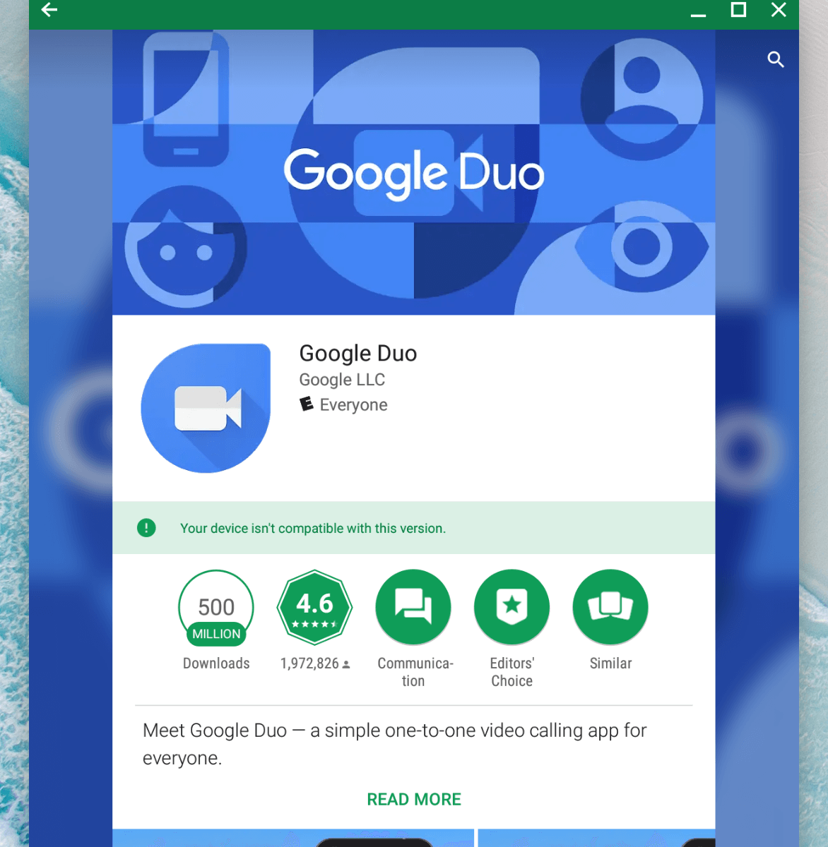 Google Duo Installer on Chrome OS