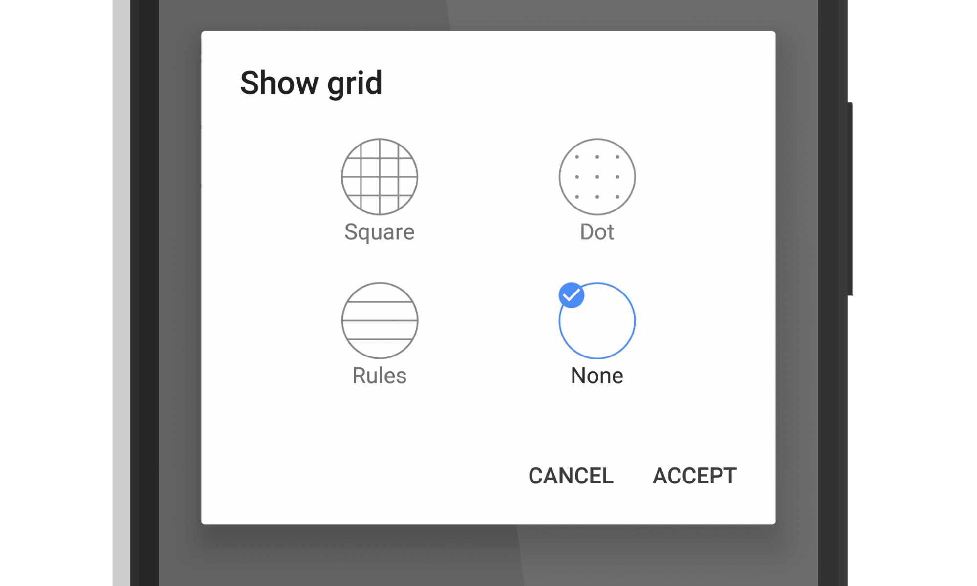 Google Keep Grid Options for Drawings