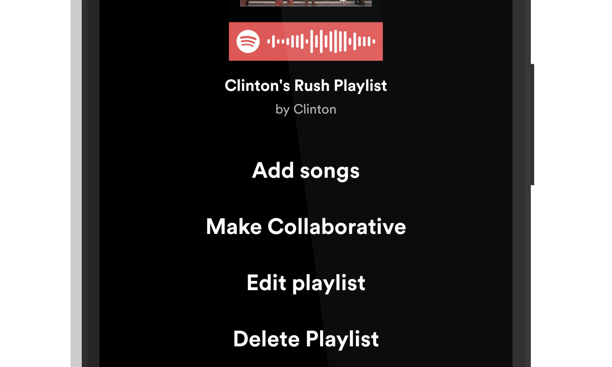 Spotify Playlist Editing Option