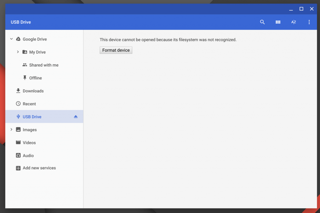 USB Drive Needs Formatting in Chrome OS Files App